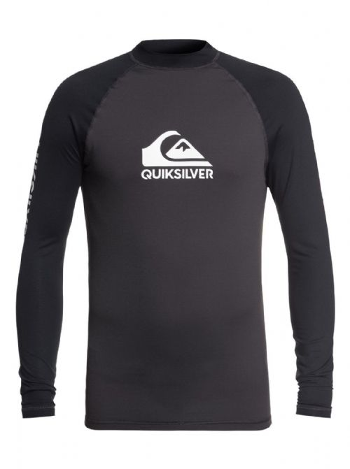 QUIKSILVER MENS RASH VEST.ON TOUR BACKPRINT UPF50+ BLACK TOP T SHIRT 8W 11 KTA0